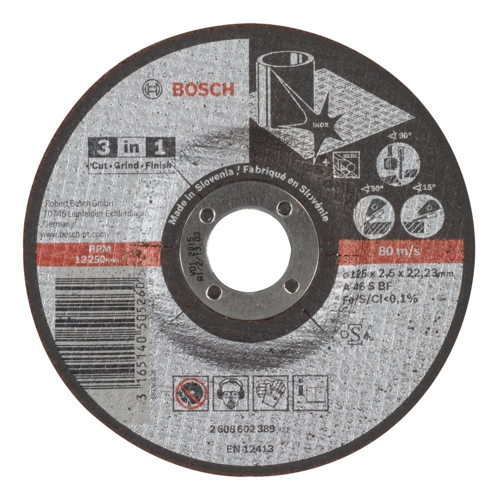 Bosch 3 In 1 Cut Grind Finish Grinding Disc 125mm