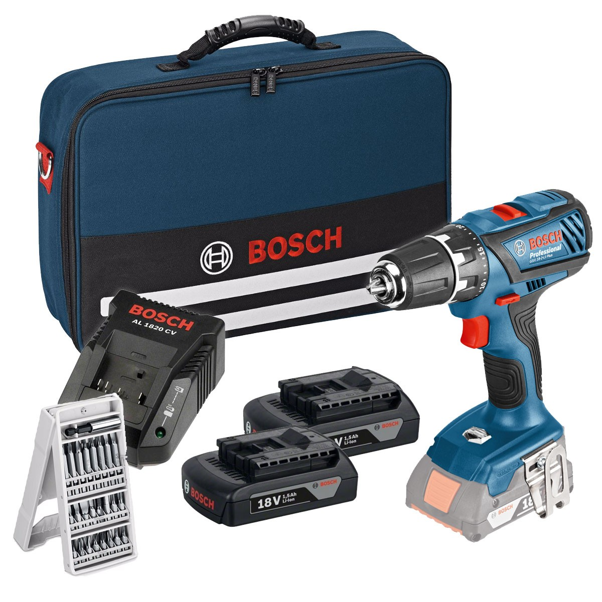 bosch gsb 18 2 li plus 18v combi drill inc 2x 1 5ah. Black Bedroom Furniture Sets. Home Design Ideas