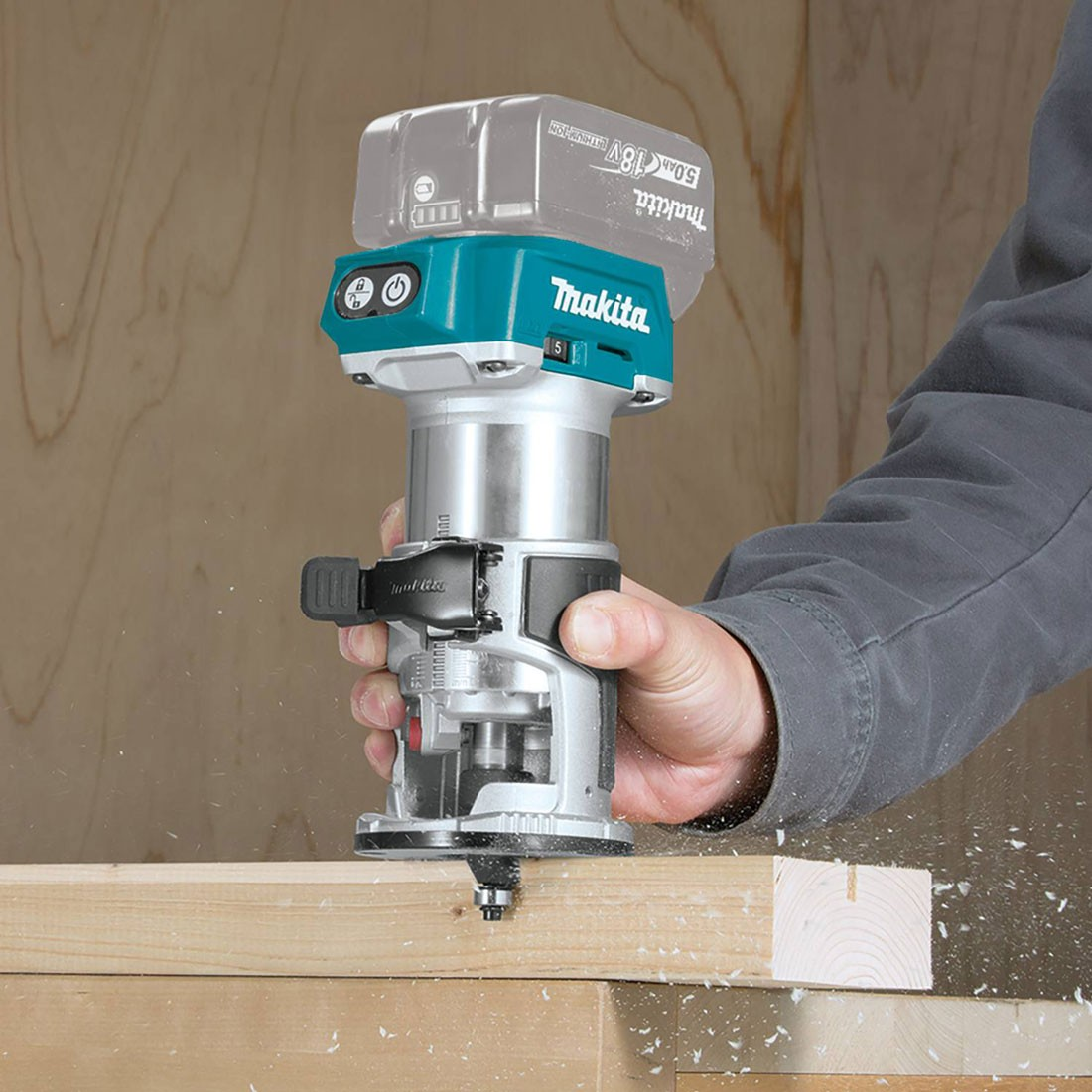 MAKPAC MAKITA DRT50ZJ 18V LXT CORDLESS LAMINATE TRIMMER BODY WITH ACCESSORIES