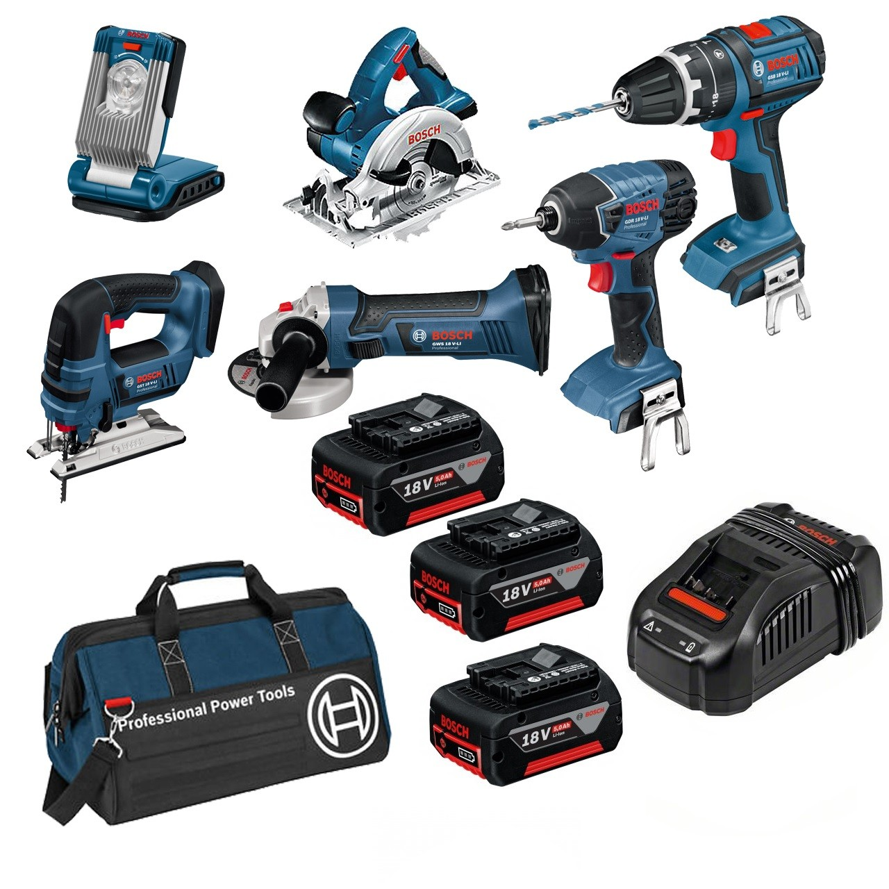 Bosch BAG+6DS 18v 6 Piece Cordless Tool Kit with 3x 5.0Ah in LBAG+  0615990H93  cfd60c40475a5