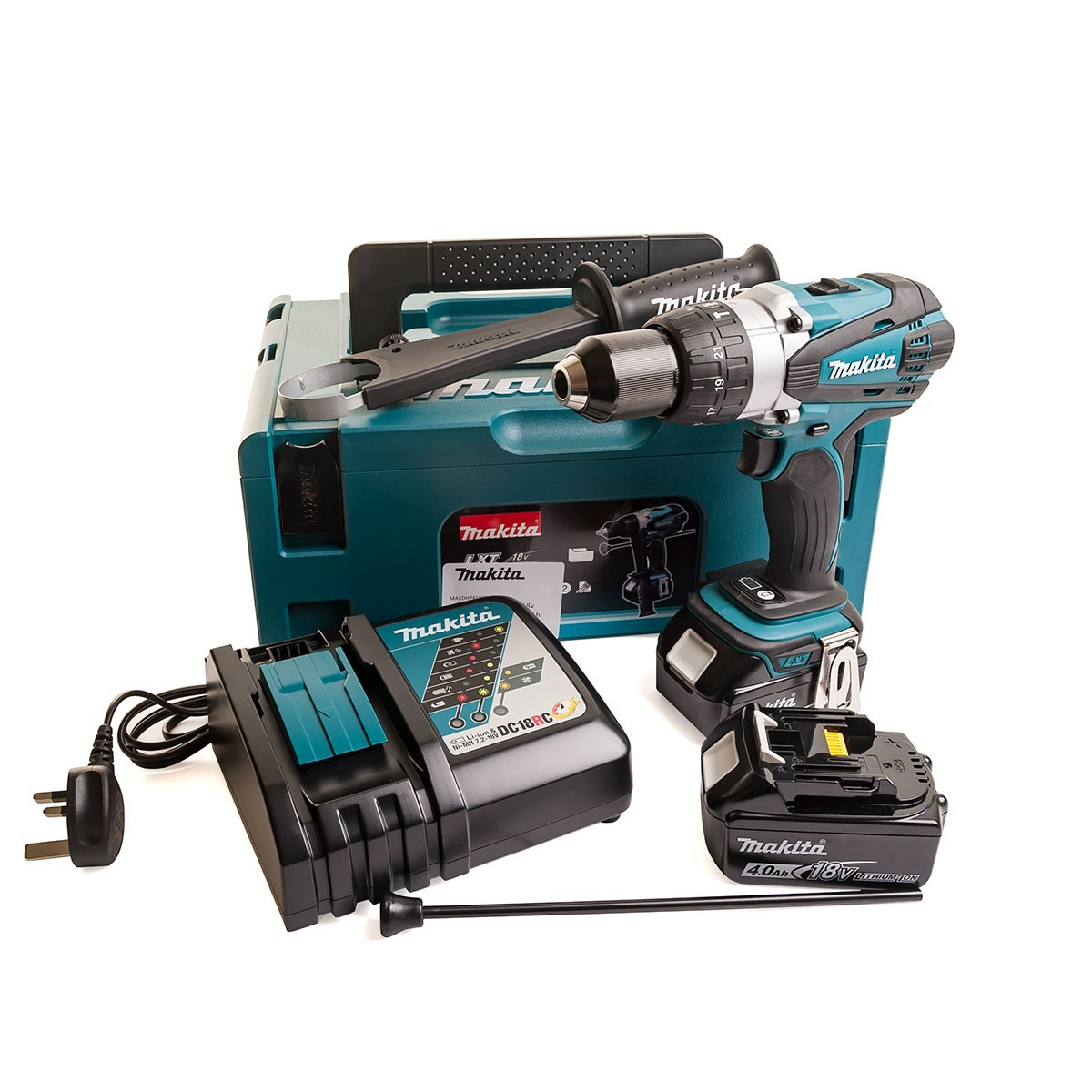 Makita DHP458RMJ 18v Combi Drill with 2x 4 0Ah Batteries in Makpac Case