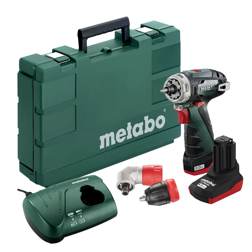 Metabo PowerMaxx BS Quick Pro 10.8v Cordless Drill Driver inc 1x 2.0Ah & 1x 4.0Ah Batteries ...