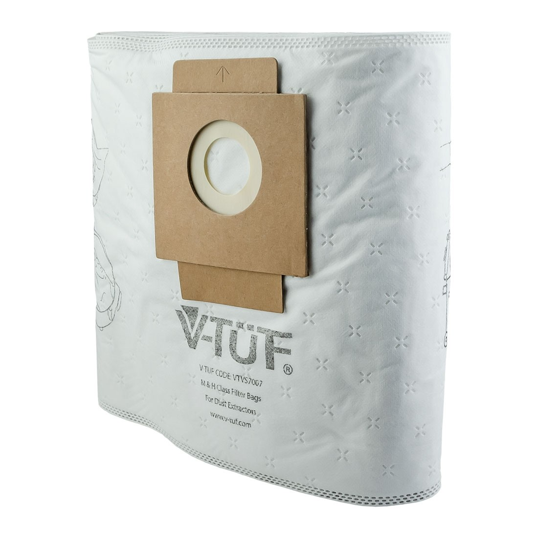 V-TUF VTVS7007 H Class Filter Bags for MIDI Dust Extractor Vacuum x10 Pcs